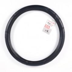 Чехол на руль L (39-41 см) из экокожи и белой резины CARLIFE черный (SW124L)