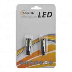 Автолампы светодиодные Solar LED 12V T10 W2.1x9.5d 10SMD 5630 white 2шт (LS287_b2)