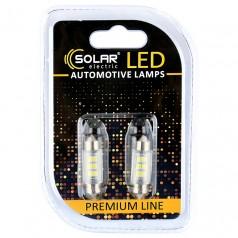 Светодиодные LED автолампы SOLAR Premium Line 24V SV8.5 T11x36 6SMD 2835 white блистер 2шт (SL2550)