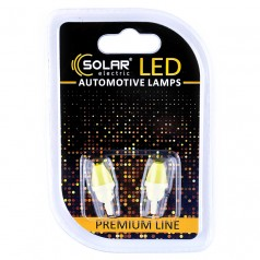 Светодиодные LED автолампы SOLAR Premium Line 12V T10 W2.1x9.5d 1COB white блистер 2шт (SL1337)
