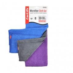 Набор тряпок из микрофибры 30x30 см 3 шт синяя, серая, фиолетовая CARLIFE (CC925)