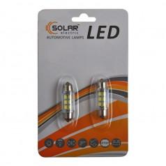 Автолампы светодиодные Solar LED 12V SV8.5 T11x36mm 6SMD 3528 white 2шт (LS275_b2)
