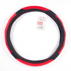 Чехол на руль L (39-41 см) из экокожи и белой резины CARLIFE черный с красными вставками и перфорацией (SW125L)
