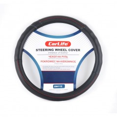 Чехол на руль CARLIFE XL (41-43см) черный+красная нитка SW112XL