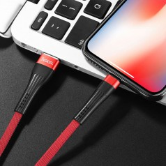 Кабель синхронизации Hoco U39 Slender Lightning Cable Iphone 1.2m (red/black) (U39-i)