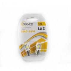 Автолампы светодиодные Solar 12V T8.5 BA9S 5 smd 2шт (LS246)