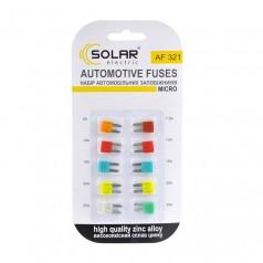 Набор предохранителей MICRO сплав цинка (5A, 7.5A, 10A, 15A, 20A, 25A, 30A) 10шт Solar (AF321)