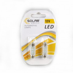 Светодиоды Led 12V SV8.5 T11x36  6 leds white  2 шт Solar