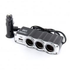 Разветвитель прикуривателя CARLIFE CS301 3в1 + USB