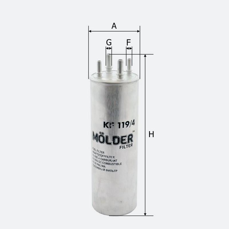 Топливный фильтр MOLDER аналог WF8358/KL229/4/WK8571 (KF119/4)