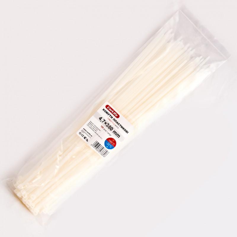 Хомуты пластиковые CARLIFE 4,8x380 мм Белые