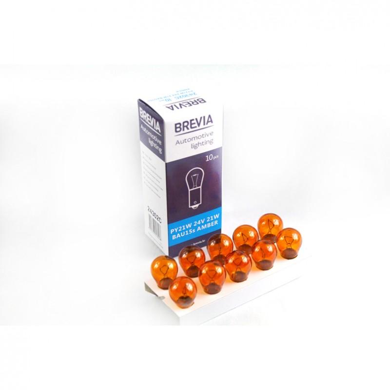 Галогеновая лампа Brevia PY21W Amber 24V 21W 24302C