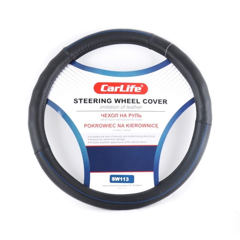 Чехол на руль CARLIFE S (35-37см) черный+синяя нитка SW113S