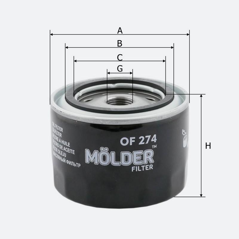 Масляный фильтр MOLDER аналог WL 7168/OC384/W9142 (OF274)