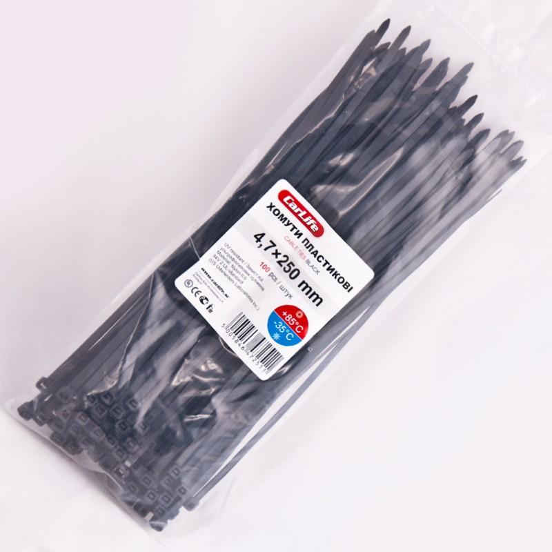 Хомуты пластиковые CARLIFE 4,8x250 мм Черные