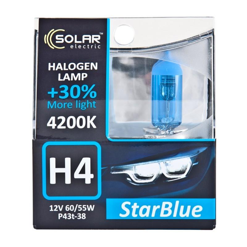Галогеновая лампа Solar H4 12V 60/55W P43t-38 StarBlue 4200K (1244S2)