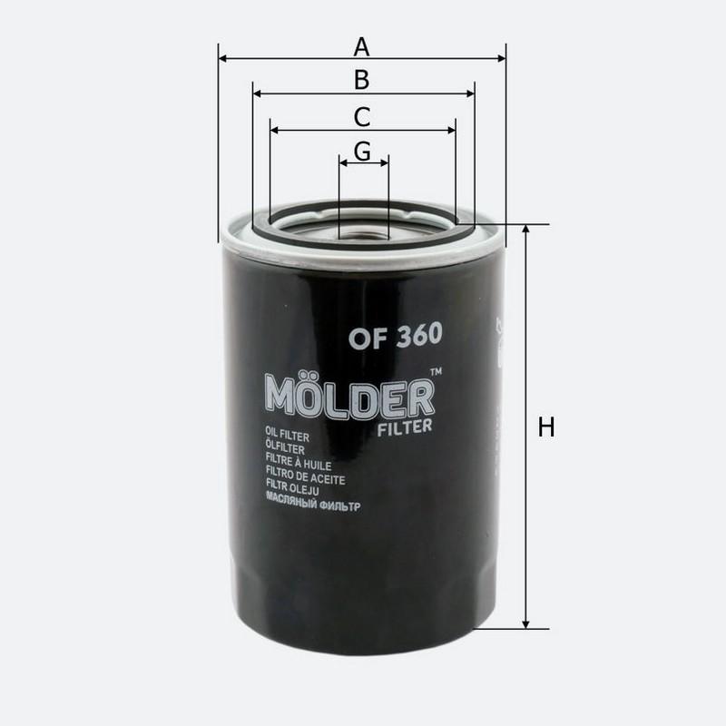 Масляный фильтр MOLDER аналог WL7448/OC470/W94066 (OF360)
