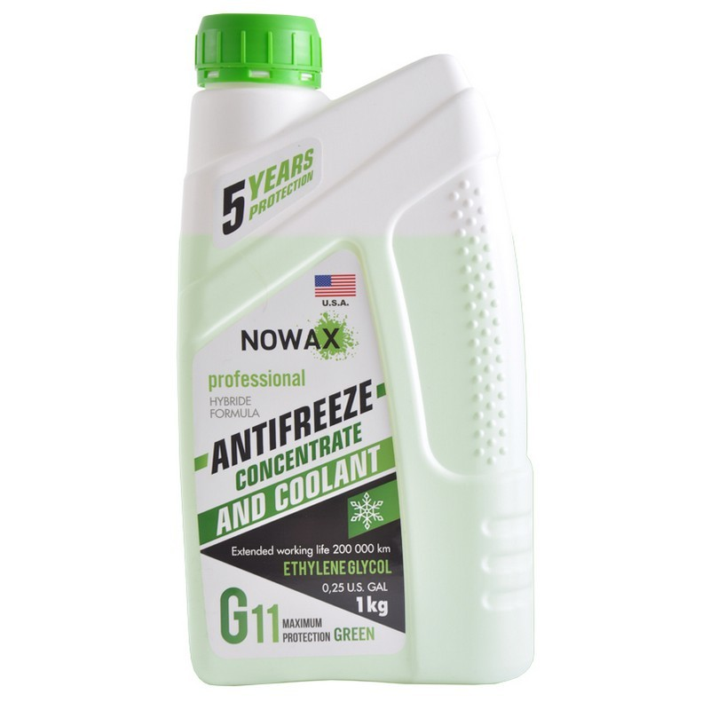 Антифриз NOWAX NX01010 G11 Green 1кг Концентрат
