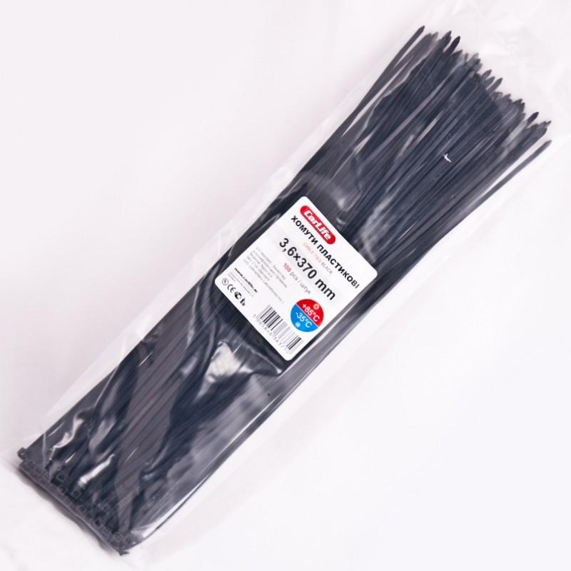 Хомуты пластиковые CARLIFE 3,6x370 мм Черные
