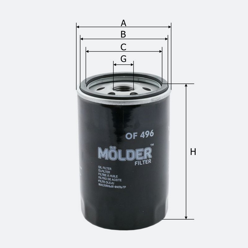 Масляный фильтр MOLDER аналог Wl7077/oc606/w71927 (OF496)