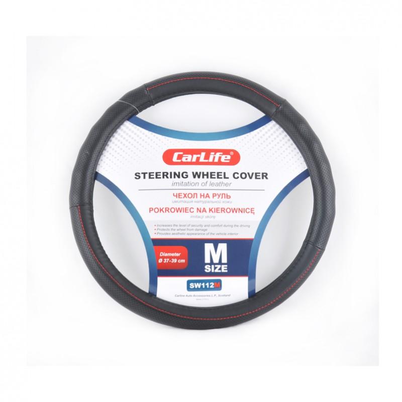 Чехол на руль CARLIFE M (37-39см) черный+красная нитка SW112M