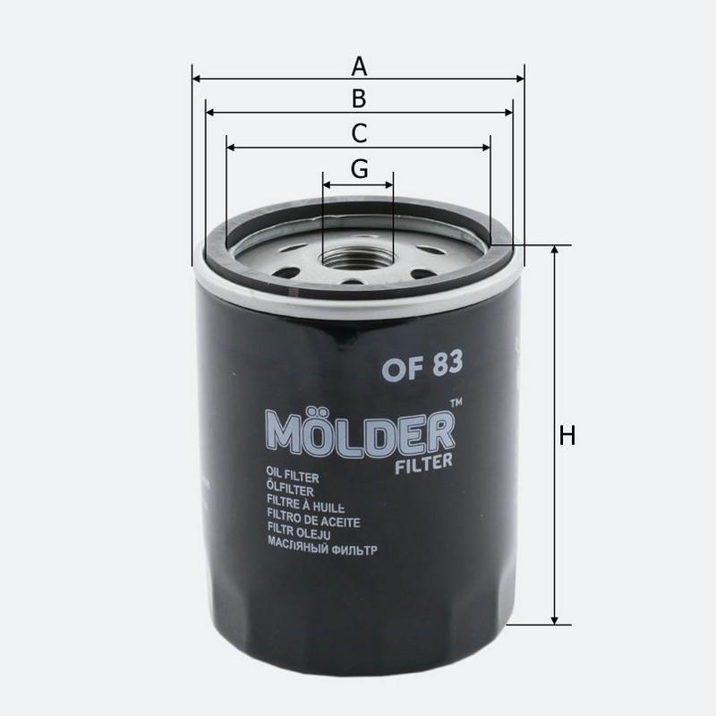 Масляный фильтр MOLDER аналог WL7087/OC93/W71318 (OF83)