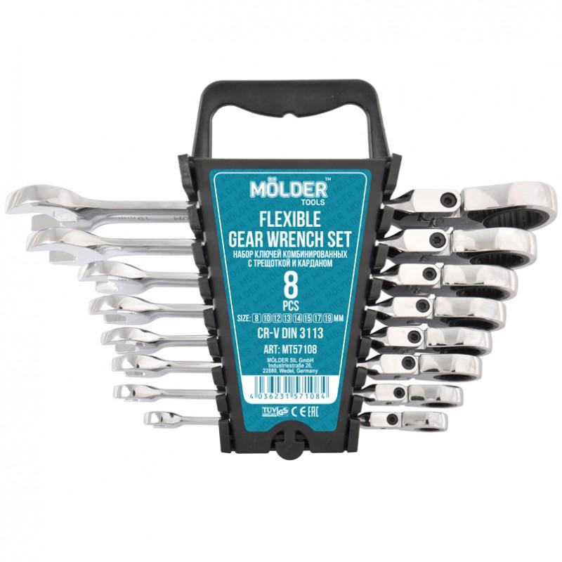 Набор комбинированных ключей MOLDER с трещоткой и карданом CR-V 8-19 мм 8 шт (MT57108)
