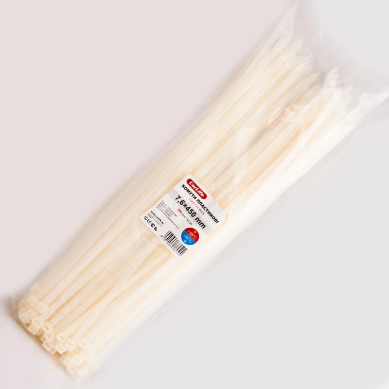 Хомуты пластиковые CARLIFE 7,6x450 мм Белые