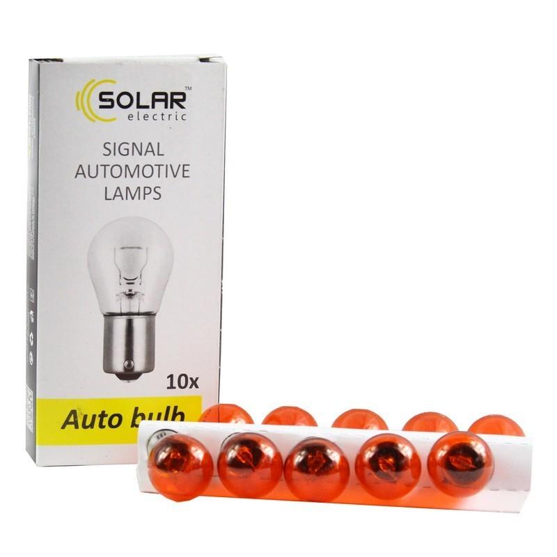 Галогеновая лампа SOLAR P21W 12V Amber ровные усики (1271)