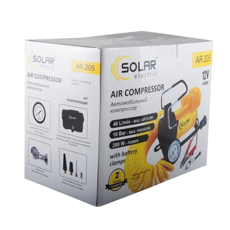 Автомобильный компрессор Solar однопоршневой 40 л/мин 12 В AR205