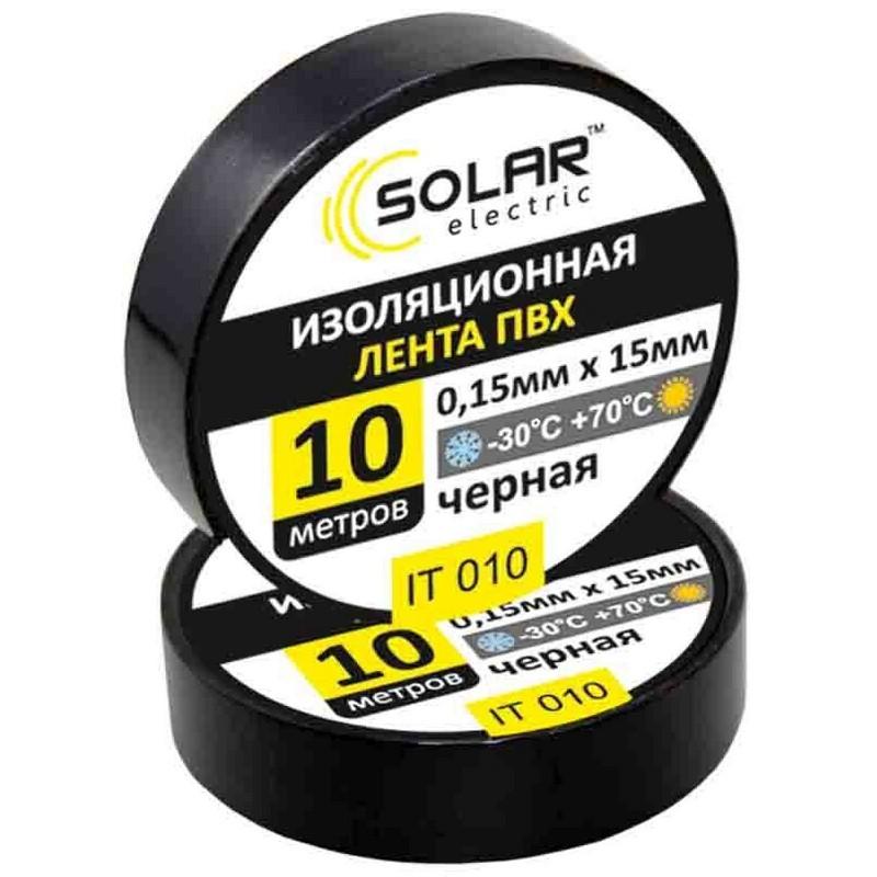 Изолента SOLAR IT010 черная 10м