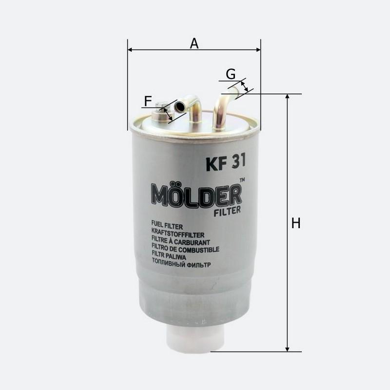 Топливный фильтр MOLDER аналог WF8043/KL41/WK8423 (KF31)