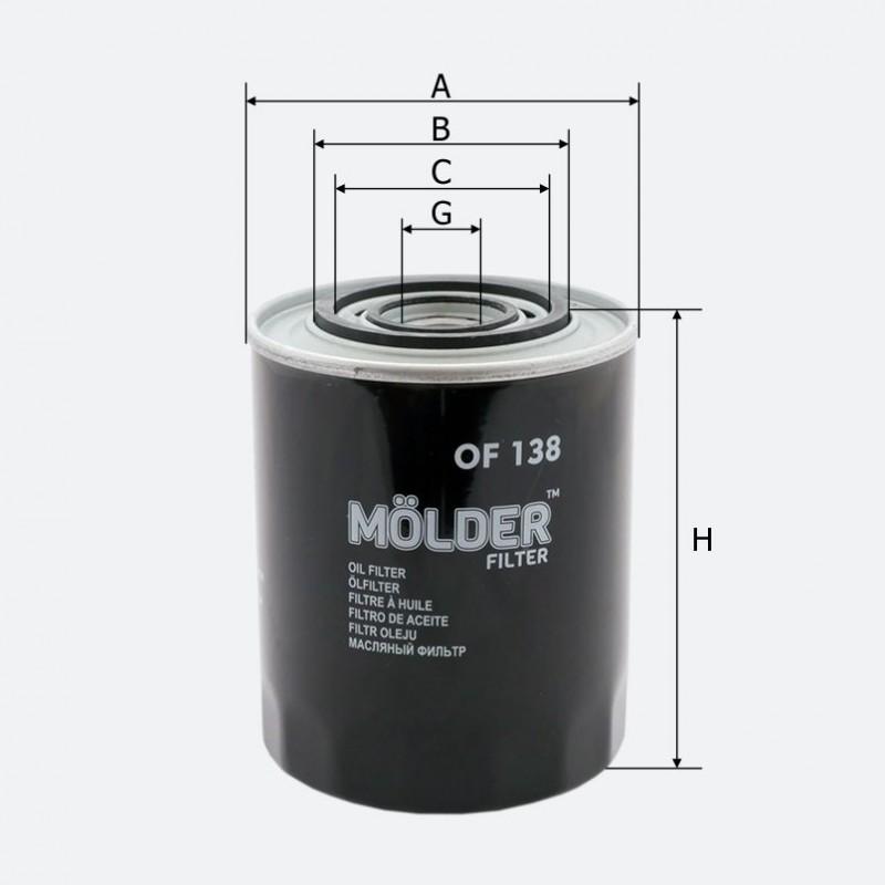 Фильтр масляный MOLDER аналог WL7200/OC195/W671 (OF138)