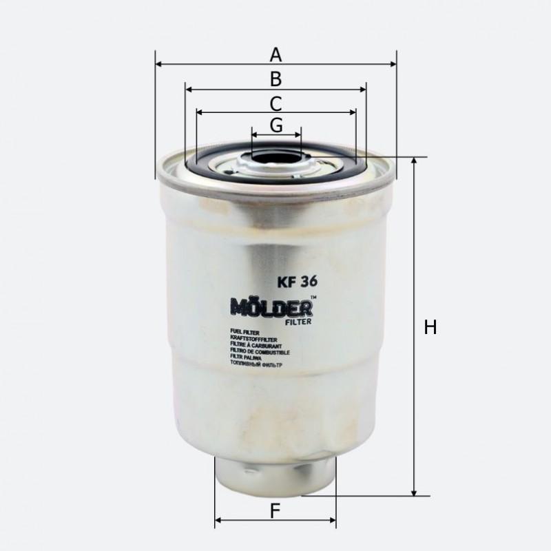 Топливный фильтр MOLDER аналог WF8058/KC46/WK94011X (KF36)
