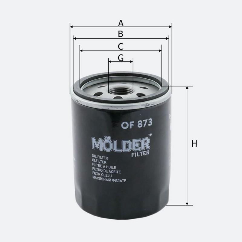 Фильтр масляный MOLDER аналог WL7091/OC983/W71316 (OF873)