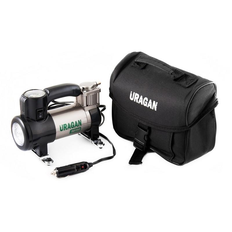 Автомобильный компрессор Uragan однопоршневой 35 л/мин с фонарем 90190