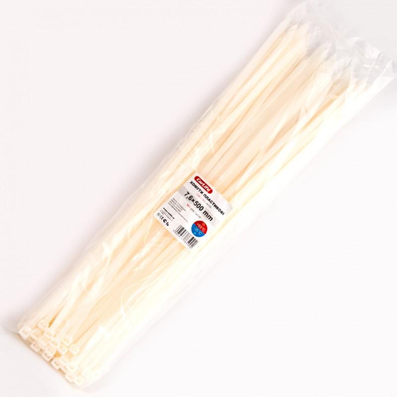 Хомуты пластиковые CARLIFE 7,6x500 мм Белые