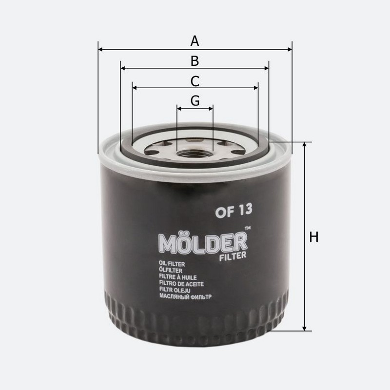 Масляный фильтр MOLDER аналог WL7078/OC23/W9161 (OF13)