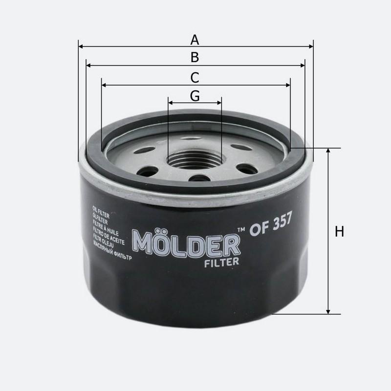 Масляный фильтр MOLDER аналог WL 7254/OC467/W753 (OF357)