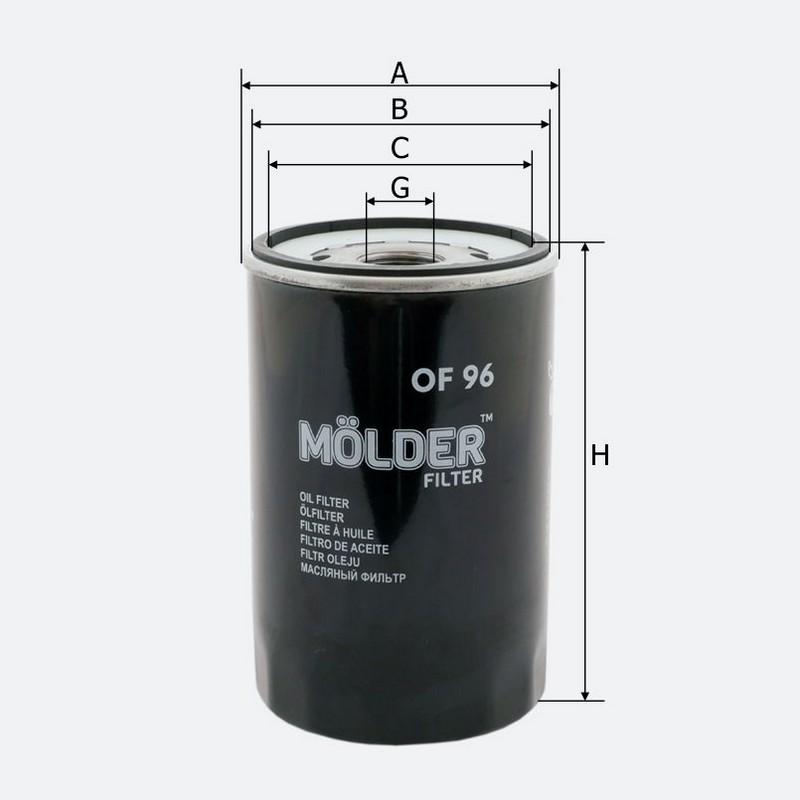 Масляный фильтр MOLDER аналог 92019E/OC206/W1160 (OF96)