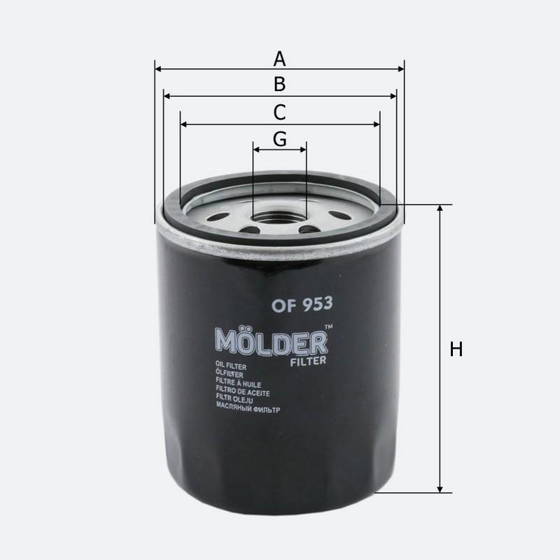 Масляный фильтр MOLDER аналог WL7323/OC981/W7127 (OF953)