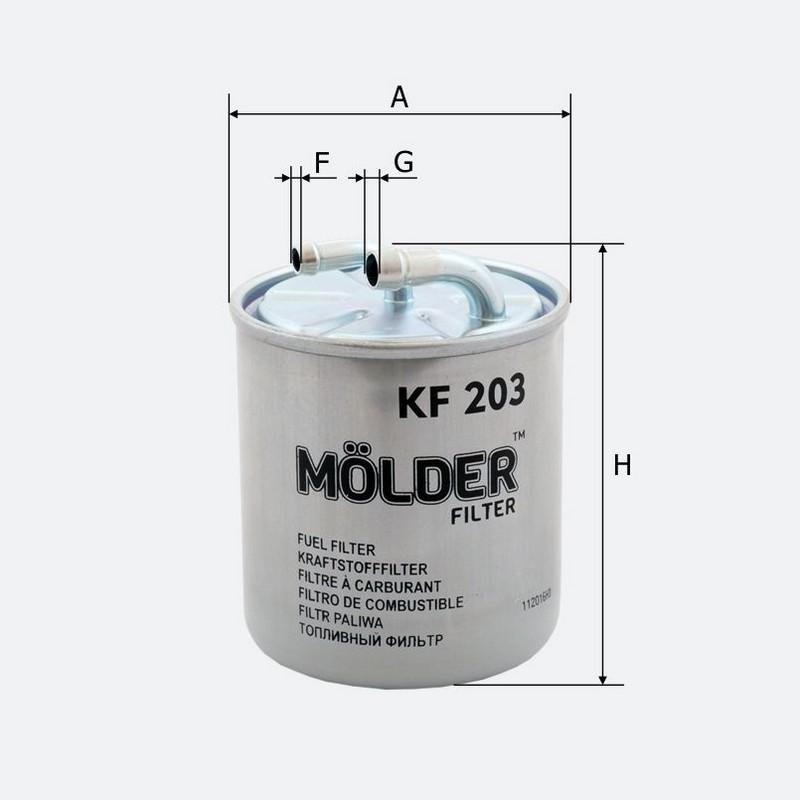 Топливный фильтр MOLDER аналог WF8309/KL313/WK820 (KF203)