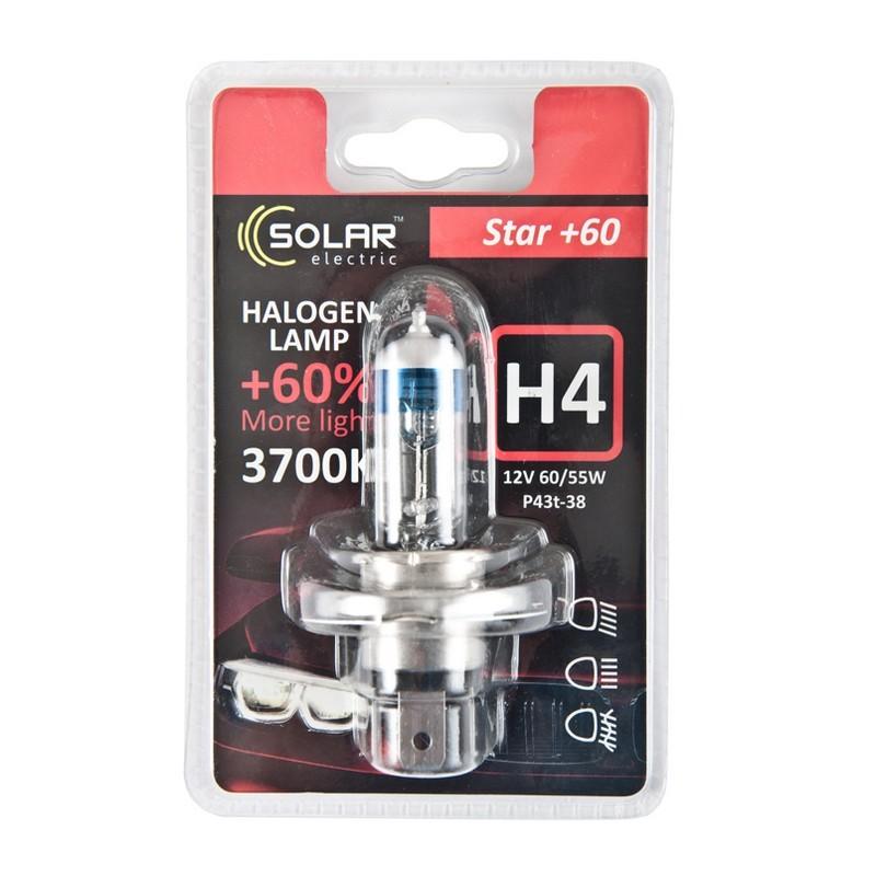 Галогеновая лампа Solar H4 12V 60/55W P43t-38 Starlight +60% (1234B1)