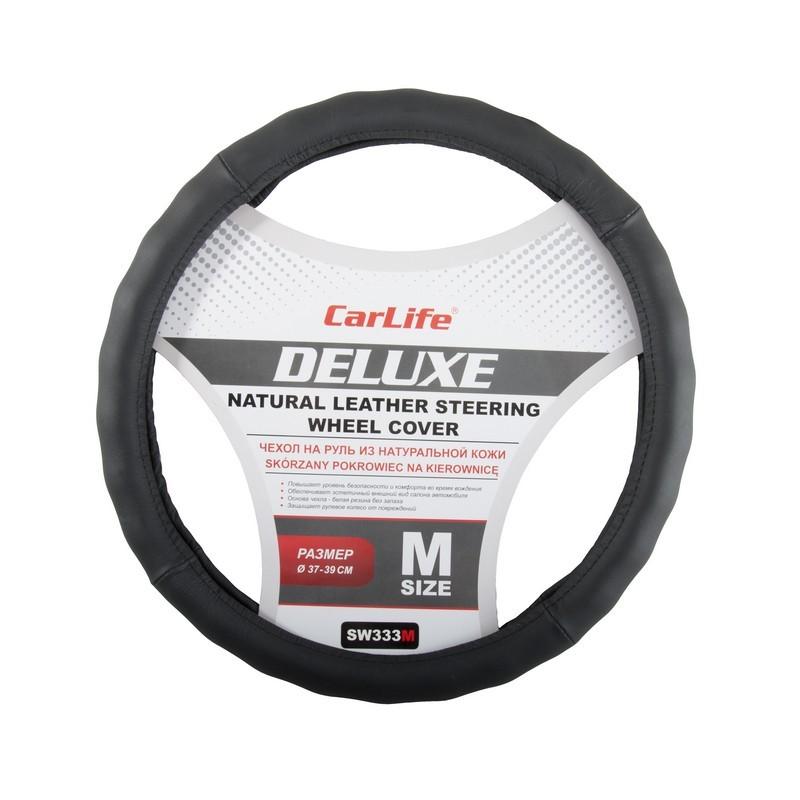 Чехол на руль CARLIFE Delux M (37-39см) черный SW333M