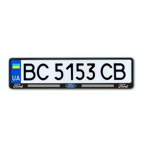 Рамка номера CarLife для Ford черный пластик (NH083)