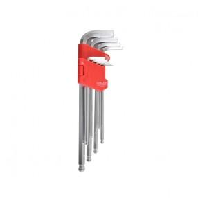 Набор Г-образных ключей CARLIFE шарообразный шестигранник длинный 9 шт (WR 2119)