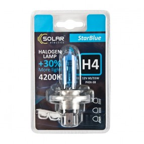 Галогеновая лампа Solar H4 12V 60/55W P43t-38 StarBlue 4200K (1244B1)