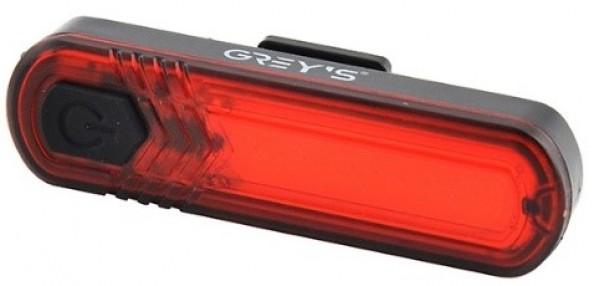 Велосипедний задній ліхтар Grey's 10xLEDs,7реж., інд. стану батареї,IPX4, microUSB,кр. (20/100шт/уп)
