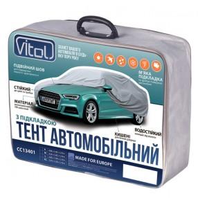 Тент автомобильный Vitol размера M серый с подкладкой PEVA+PP Cotton CC13401-M  (5)