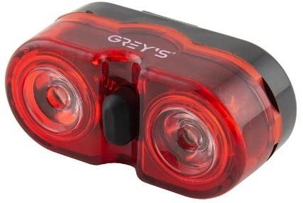 Велосипедний задній ліхтар Grey's 2хLEDs 1W,вологозахищений корпус, 3 реж., кріплення (20/100шт/уп)